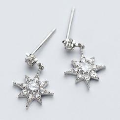 A'ROCH - 925 Sterling Silver Rhinestone Star Drop Earring