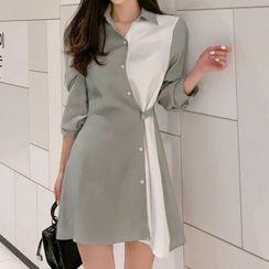 Aurora - Long-Sleeve Color Block Mini Shirtdress