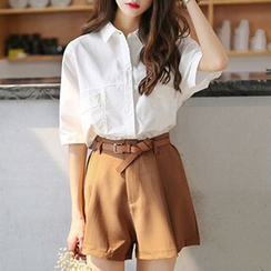 Ashlee - 套裝: 短袖襯衫 + 短褲