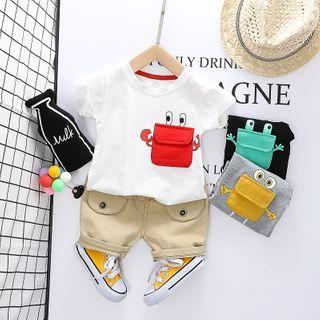 Mini Bae - Kids Set: Pocket Detail Short-Sleeve T-Shirt + Shorts