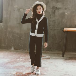 Cuckoo - Kids V-Neck Cardigan / Wide Leg Knit Pants