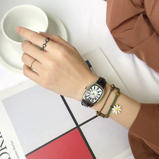 Honey Bee - Set: Retro Rectangular Faux Leather Strap Watch + Daisy String Bracelet
