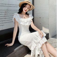 AMOS - Cap-Sleeve Ruffle Midi Mermaid Lace Dress