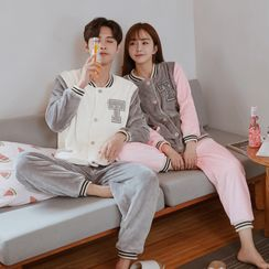 Endormi - Couple Matching Pajama Set: Letter Embroidered Fleece Shirt + Harem Pants
