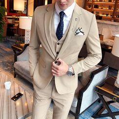 Deepwood - Set: Plain Blazer + Vest + Dress Pants