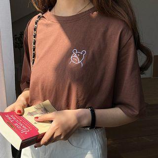 Dute - 小熊刺繡短袖T裇