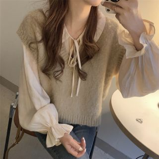 Fabricino(ファブリチーノ) - Long-Sleeve Ruffled Dotted Blouse / Plain Blouse / Sweater Vest