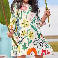 Kissy Kiddos - Kids Long-Sleeve Floral Print A-Line T-Shirt Dress