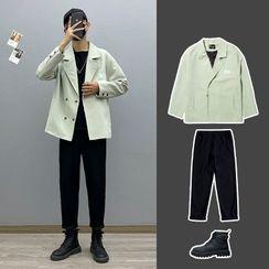 Avilion - Plain Loose-Fit Blazer / Plain T-Shirt / Plain Straight Leg Pants