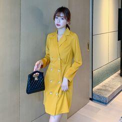 Nyssa - Double-Breasted Mini A-Line Coat Dress
