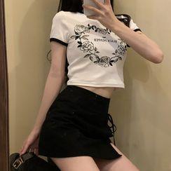 VeryBerry - Short-Sleeve Printed T-Shirt / Skort
