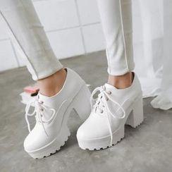 Shoes Galore - Heel Lace-up Shoes