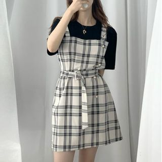 Leoom - Mock Two-Piece Short-Sleeve Plaid Dress