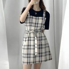 Leoom - 格子短袖假兩件連衣裙