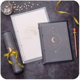 Momoi - Moon & Star Print Loose Leaf Document Folder