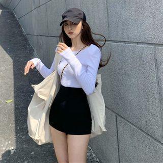 Flowerisque - Long-Sleeve Top / High-Waist Shorts