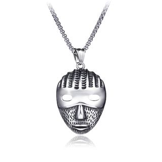 Prushia - Stainless Steel Mask Pendant Necklace