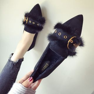 My Meow - Furry Trim Pointy-Toe Slip-Ons