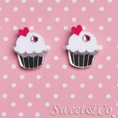 Sweet & Co. - 粉白蛋糕水晶銀耳環