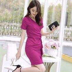 Bonne Castle - Tie-Waist Short-Sleeve Mini Sheath Dress