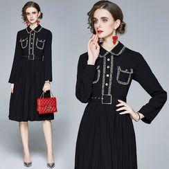 Yonna - Long-Sleeve Midi A-Line Pleated Dress