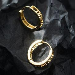 A'ROCH - 羅馬數字純銀圈環耳環