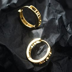 A'ROCH - 罗马数字纯银圈环耳环