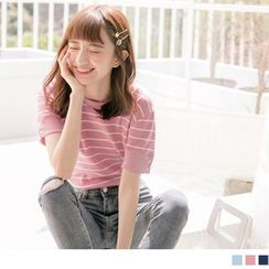 OrangeBear(オレンジベア) - Short Sleeve Striped Knit Top