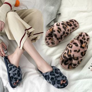 Aneka - Leopard Print Crisscross Furry Slippers