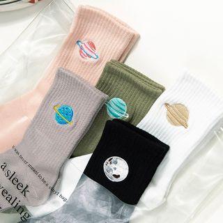QUICKSOOX - 星球刺繡襪子