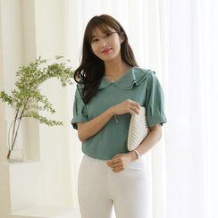 CLICK - Puff-Sleeve Layered-Collar T-Shirt