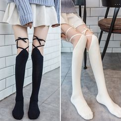 MEIA - Lace-Up Over-The-Knee Socks
