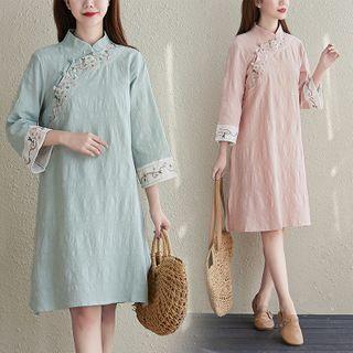 RAIN DEER - Embroidered Mandarin Collar Midi A-Line Dress