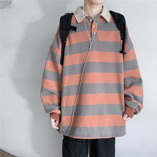 Skeggi - Striped Long-Sleeve Oversize Polo Shirt