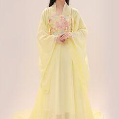 Snow Hymn - Kids Hanfu Set: Embroidered Dress + Mesh Top + Corset Belt