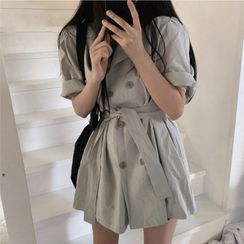Guajillo - Double Breasted Tie Waist Short-Sleeve Coat Dress