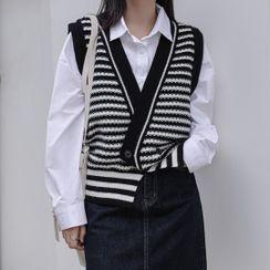 Klevy - V-Neck Striped Sweater Vest