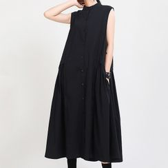 Ultra Modern - Plain Sleeveless Midi A-Line Dress