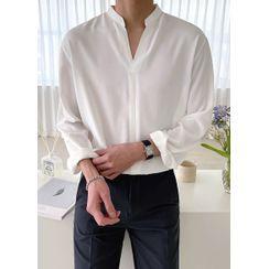 JOGUNSHOP - Mandarin-Collar Plain Shirt