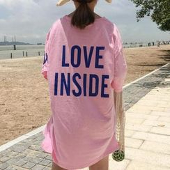 Ashlee - Elbow-Sleeve Lettering Long T-Shirt
