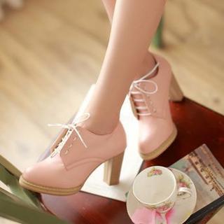 缤纷女鞋 - 系带高跟鞋