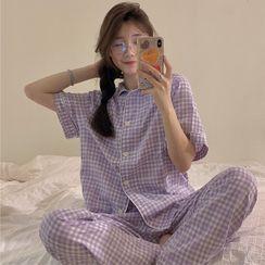 merryberry - Short-Sleeve Gingham Pajama Shirt / Pants