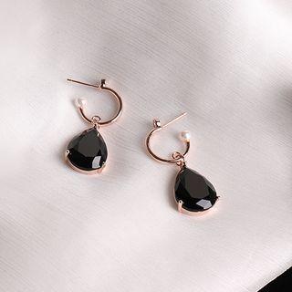 Langinara - Faux Pearl Faux Crystal Drop Earring
