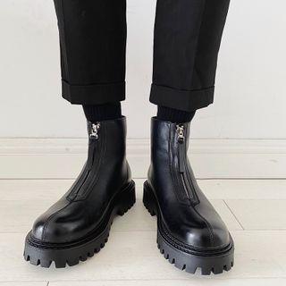 VEAZ - Faux Leather Platform Zipped Ankle Boots