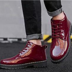 MARTUCCI - Lace-Up Platform Patent Short Boots