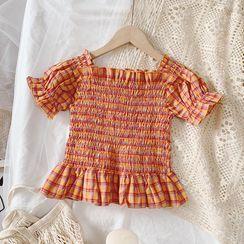 Cuckoo - Girls Short-Sleeve Plaid Smocked Top