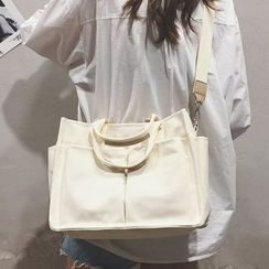 Youme - Canvas Plain Double Front Pockets Handbag with Shoulder Strap