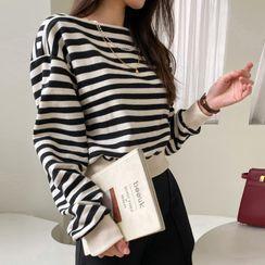 DABAGIRL - Boatneck Striped Crop Sweatshirt
