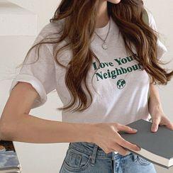Cherryville - Round-Neck Letter Print T-Shirt