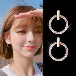 Alycia - 水鑽圈環耳環